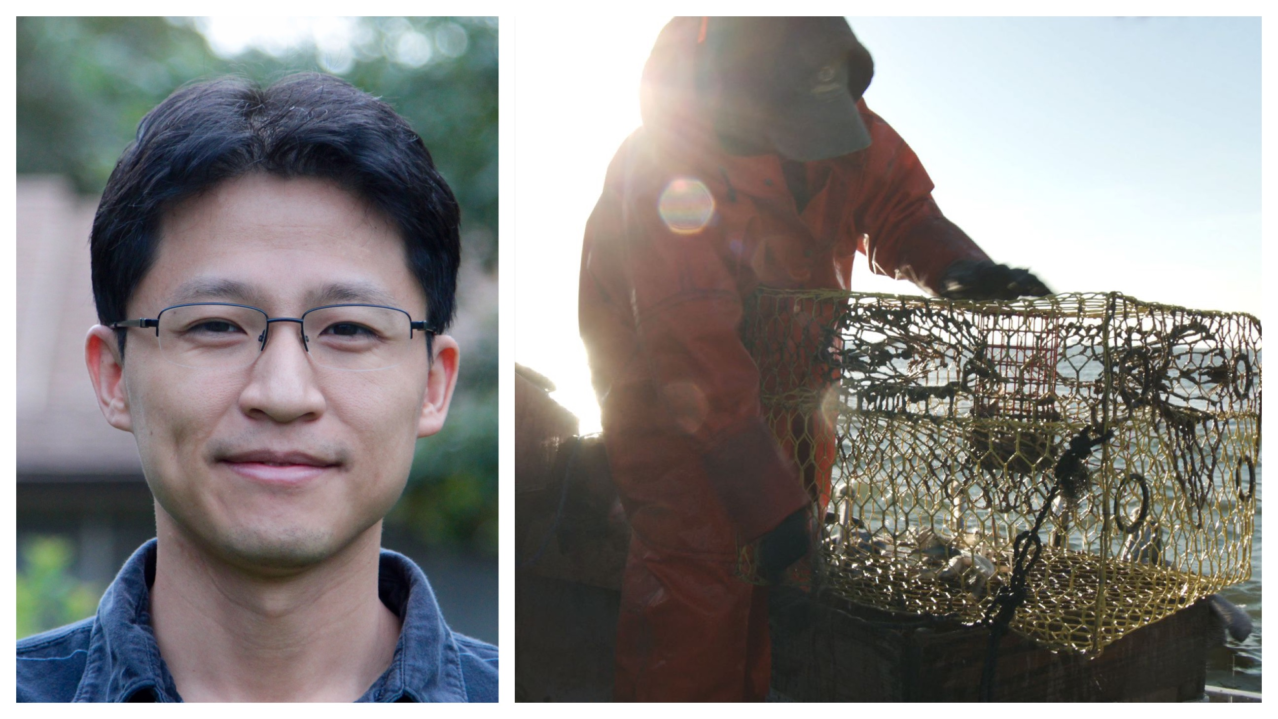 An East Asian man wearing glasses poses for the camera on the left; on the right, an image of a person with a crabbing net hauling in crabs.