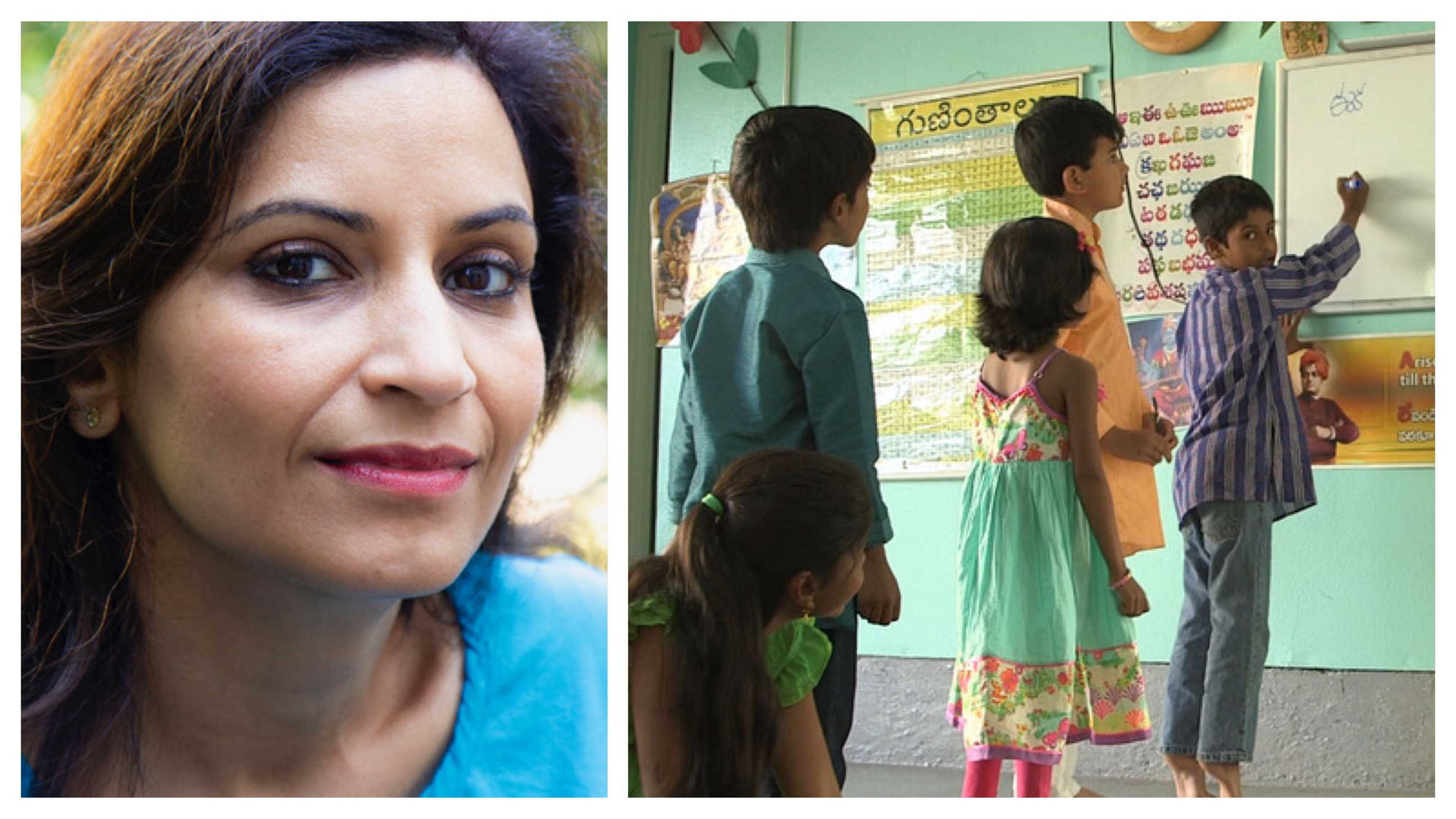 A South Asian woman is looking at the camera with a tiny smile for her portrait on the left; on the right is an image of South Asian school children sitting on the floor participating in class.