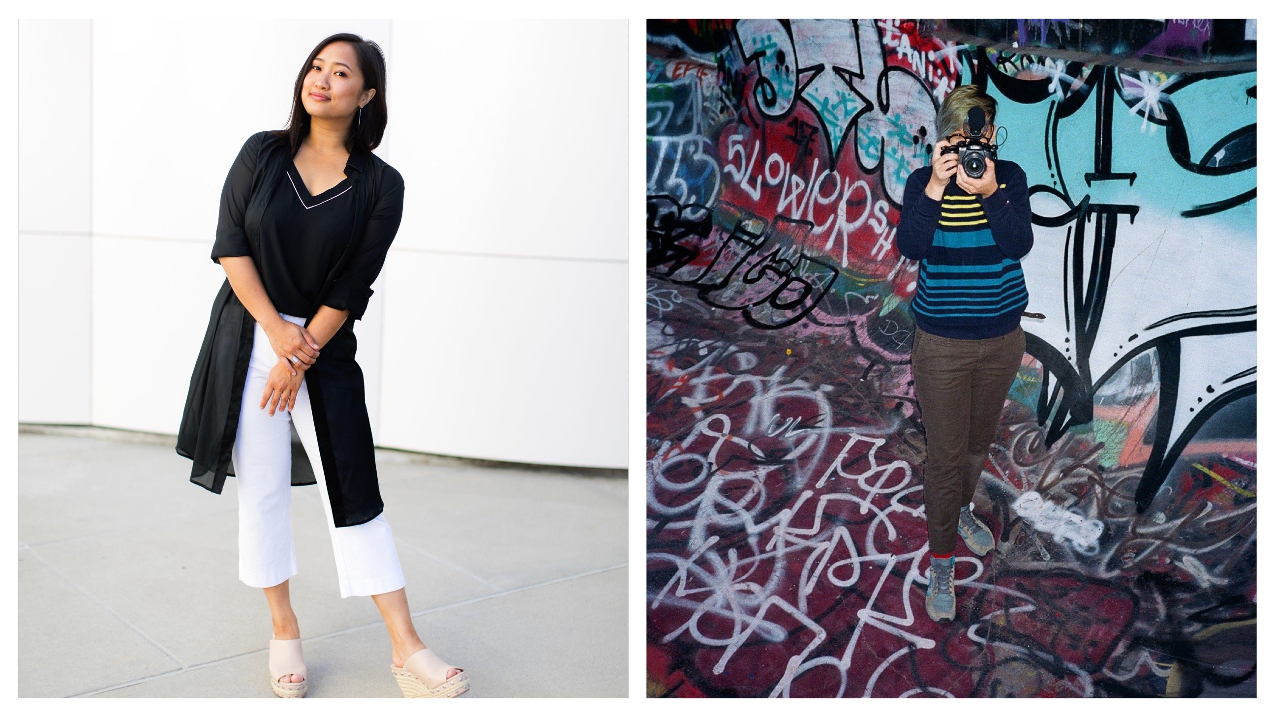 A young Southeast Asian woman smiles on the left and on the right is a young person with short blonde hair standing in front of a graffiti'ed wall holding a camera in front.