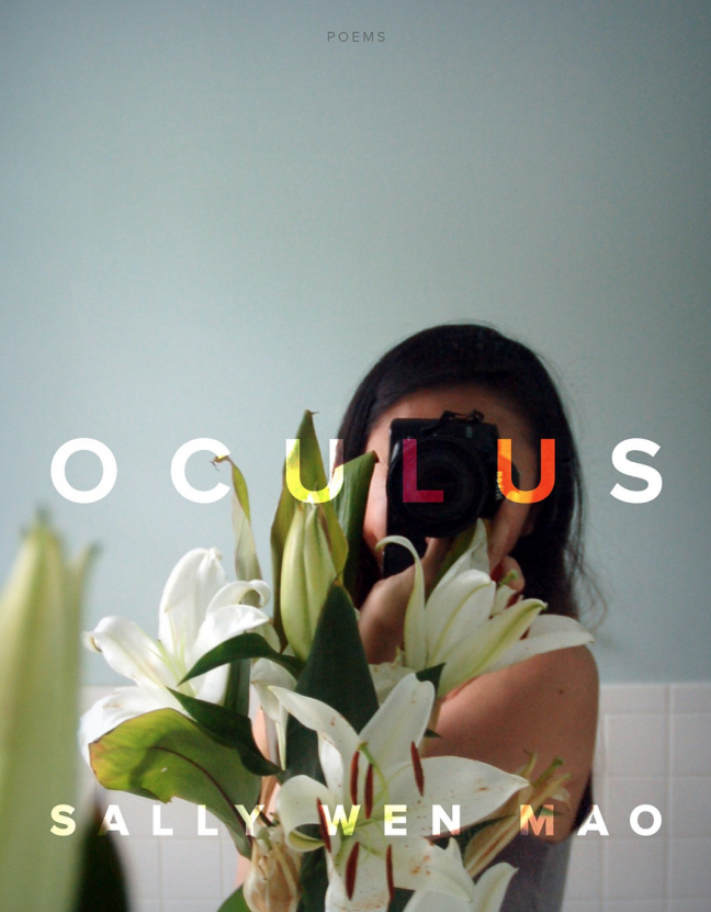 "The word ""Oculus"" is on top of the book cover and a woman's face is hidden behind star gazer lillies."