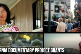 A collage of images from documentaries funded by California Humanities.