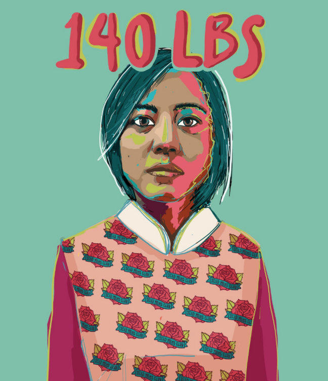 "An illustrated image of a Vietnamese American woman wearing a pink vest with the words ""140 LBS"" at the top."