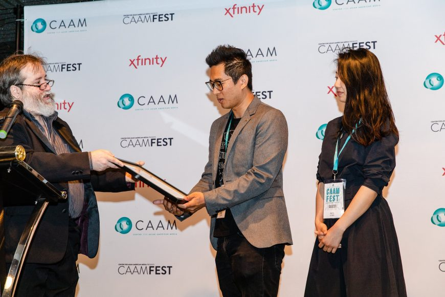 "CAAM Filmmaker Awards Brunch. Wen Ren accepts award for ""Last Sunrise,"" which won the SF Film Critics Award. Photo by Kelsey Ogden."