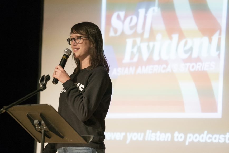 Self Evident: Asian America's Stories is a podcast hosted by Cathy Erway. Photo by Brandon Chew courtesy of Self Evident.