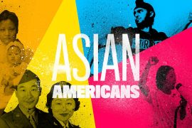 "a colorful graphic image of Asian American faces with the words ""Asian Americans"" in the middle."
