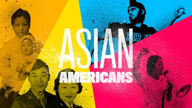 """a colorful graphic image of Asian American faces with the words """"Asian Americans"""" in the middle."""