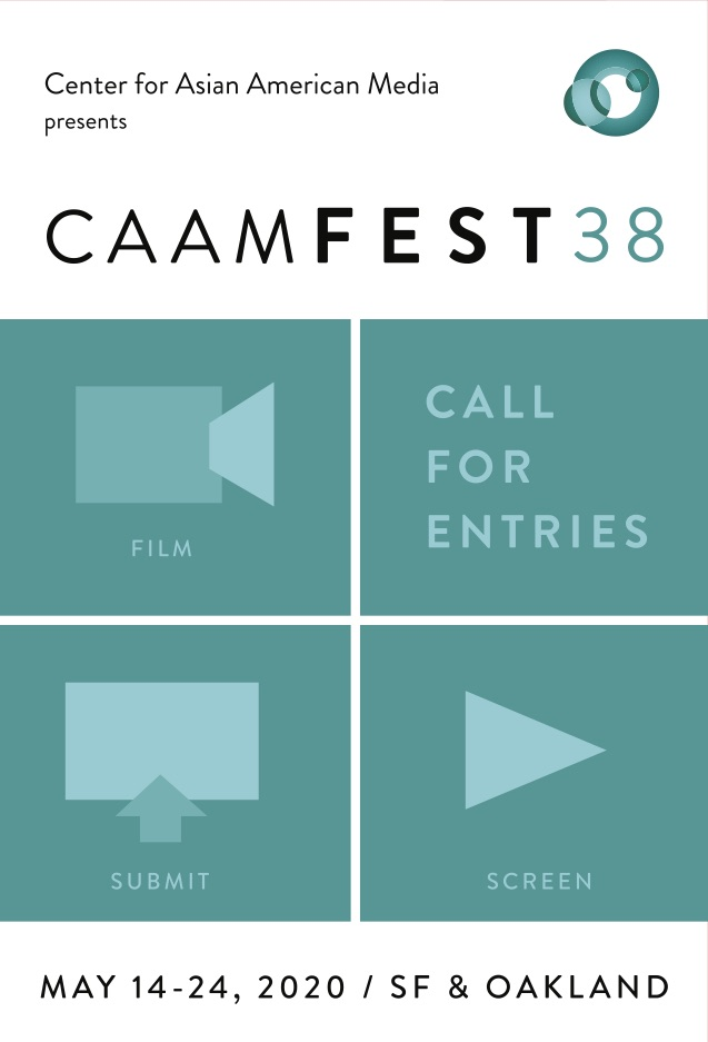 "A postcard image with simple graphics of a computer screen, play button, video camera, and the words ""Call for Entries"" with teal and white colors."