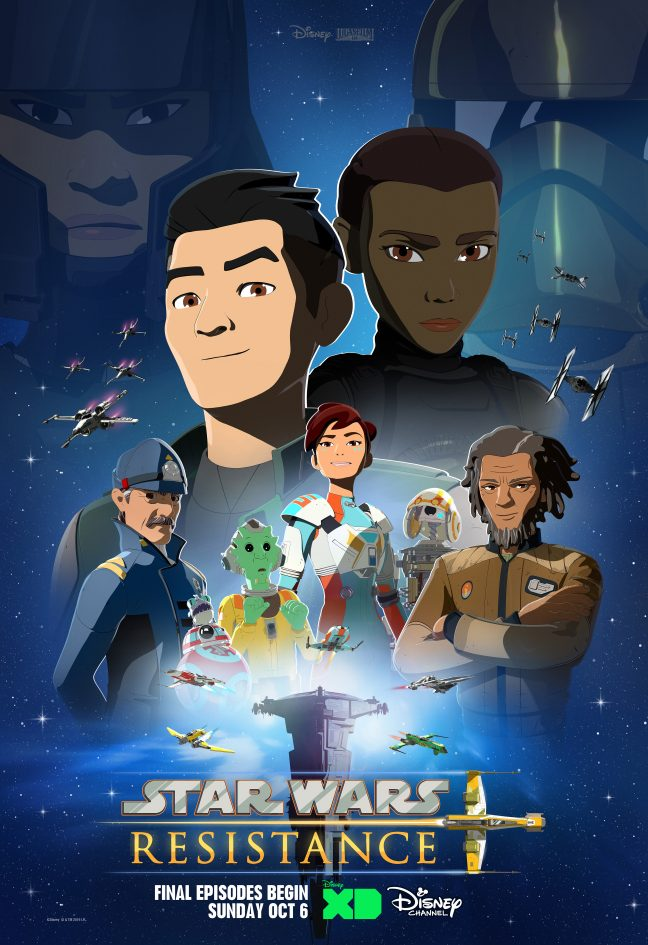 "An animation poster of an Asian American man and African American man (cartoon), called ""Star Wars Resistance."""