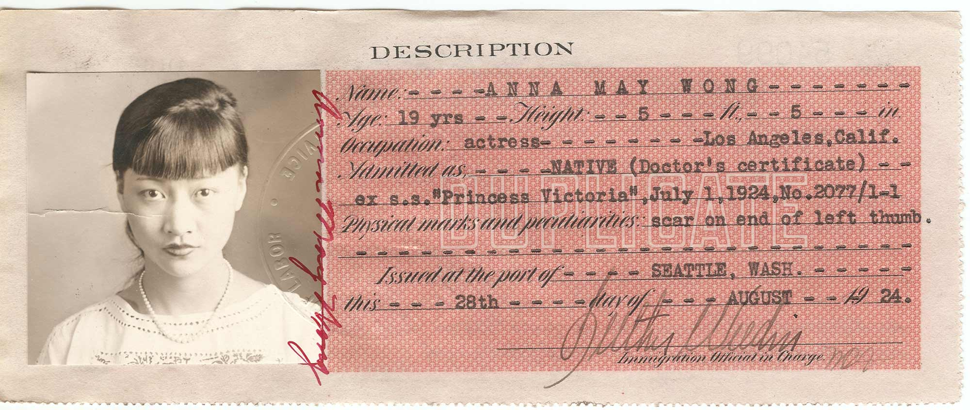 Anna May Wong certificate