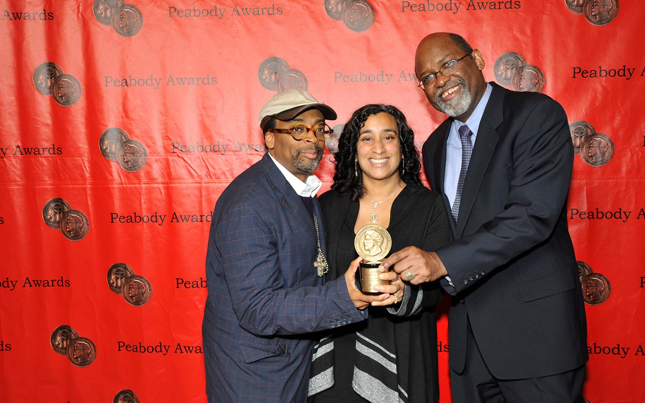 Spike Lee, Geeta Gandbhir, and Sam Pollard with their Peabody Award for If God Is Willing and Da Creek Don't Rise (2010)