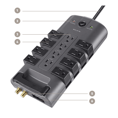 pivotplug 12 outlet surge protector 8 ft cord surge protection for up to 8 devices icon