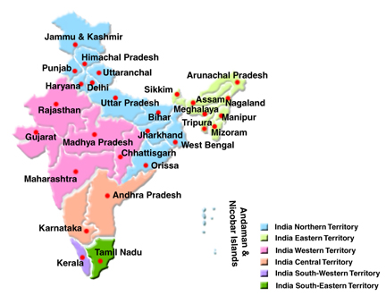 map of india showing six territories to find out more about the salvation army