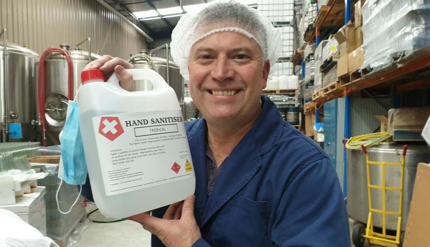 Brewer making sanitiser for The Salvation Army