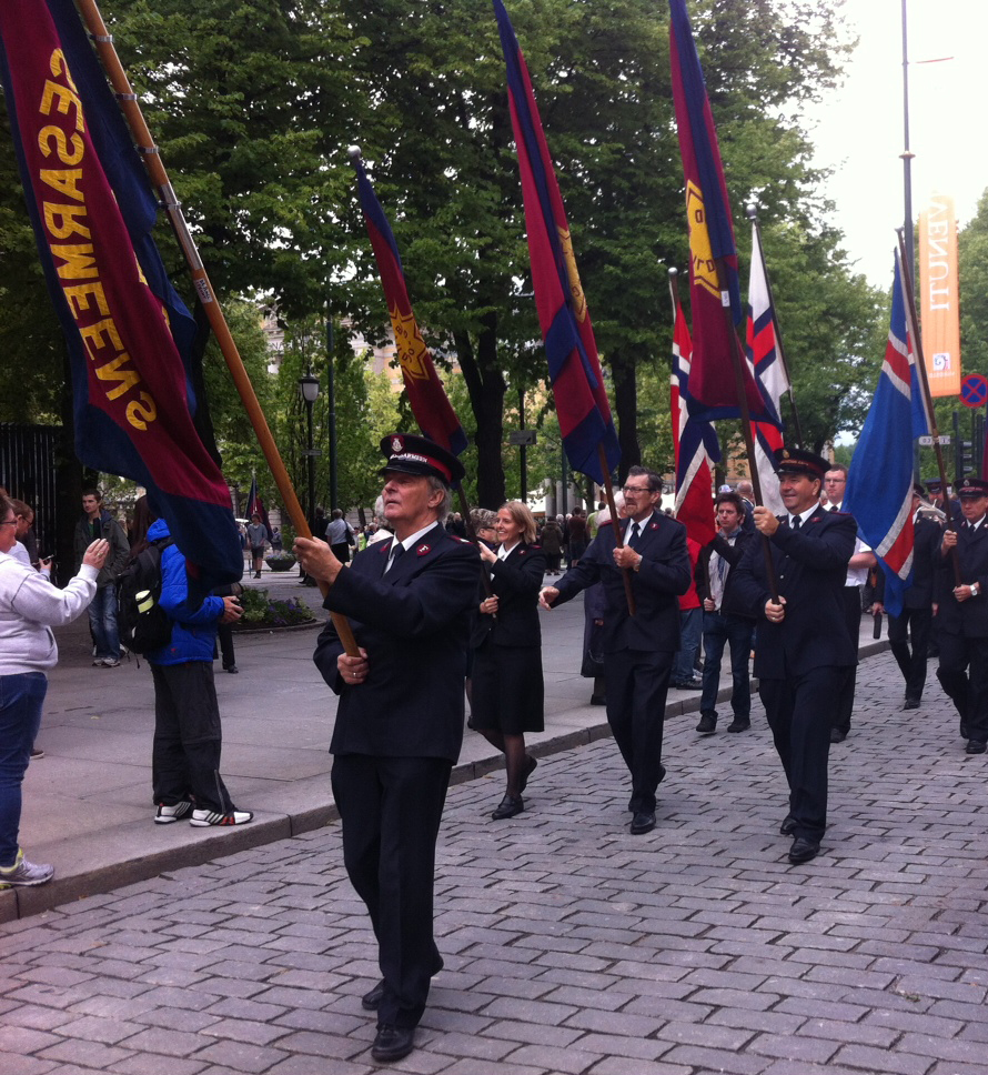 Marching with flags
