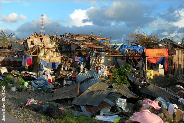 Destruction in Leyte province caused by Typhoon Haiyan