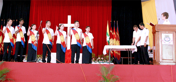 The General commissioning cadets in Myanmar