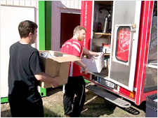 Salvation Army volunteers load up a vehicle