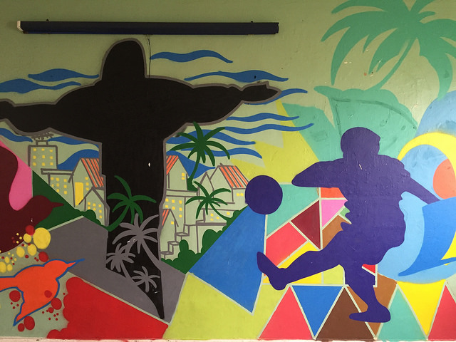 Sports mural at a Salvation Army centre in Rio
