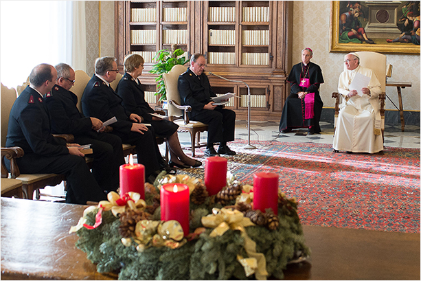 The Salvation Army's delegation, headed by General Cox, in a private meeting with His Holiness Pope Francis