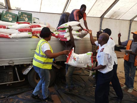 Salvation Army unloading emergency supplies in Beira, Mozambique