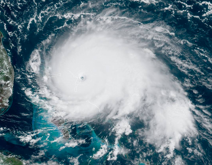 Satellite image of Hurricane Dorian