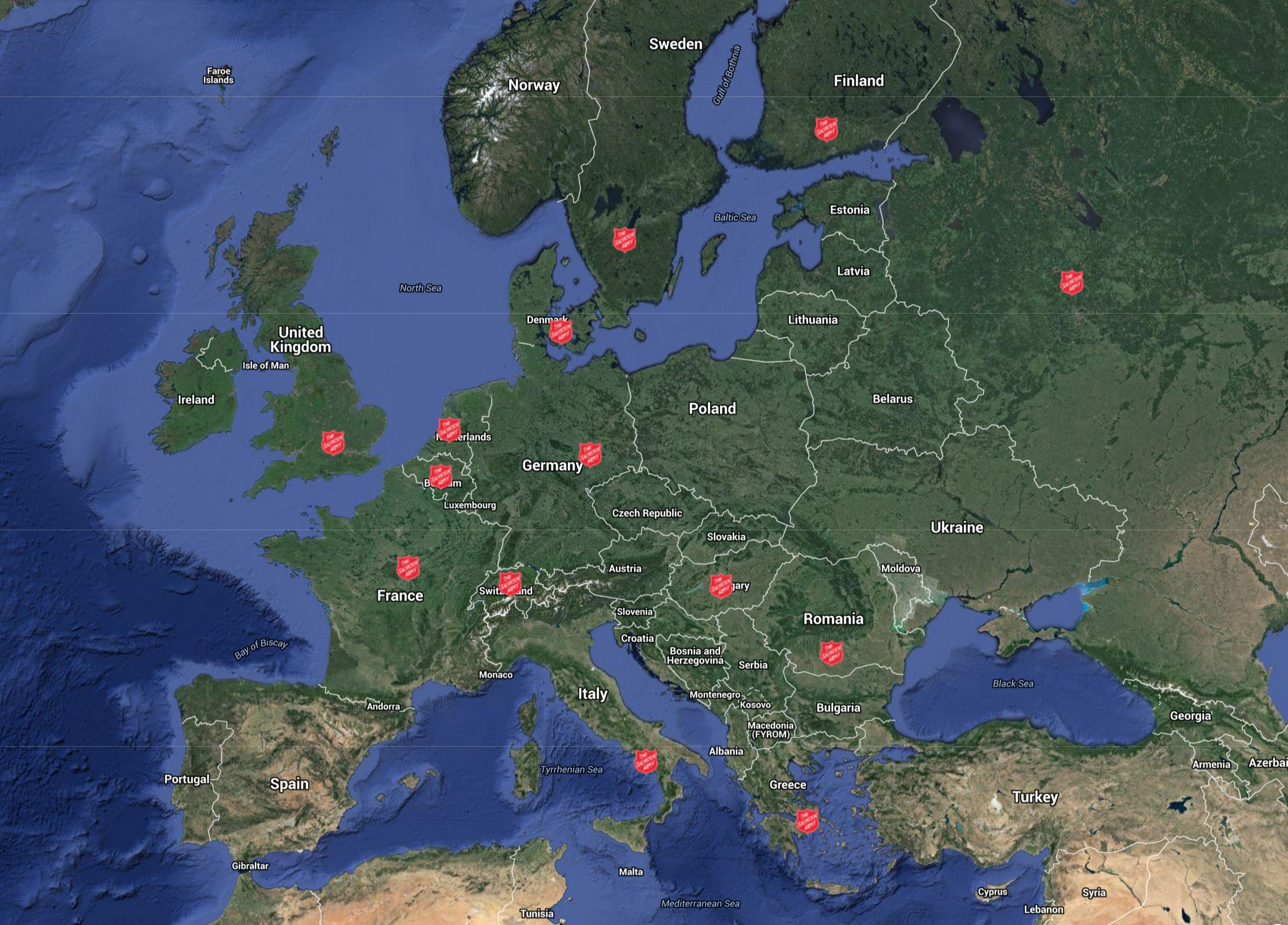 Map of Salvation Army refugee responses across Europe