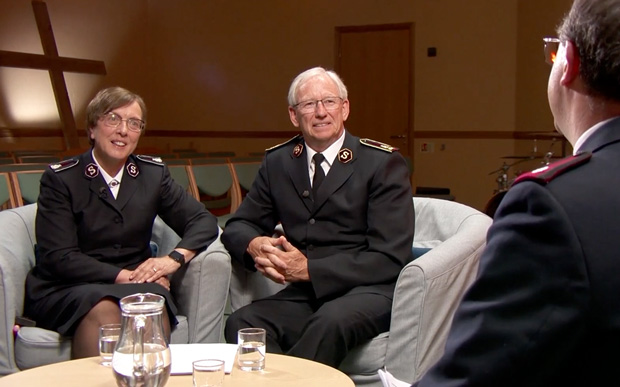 The leaders speak to Major David Williamson