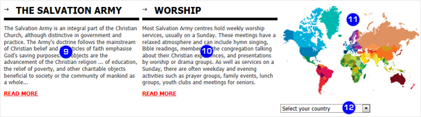 we have tried to provide as many ways to the more important aspects of the website as possible the introduction to the salvation army 9 and worship 10