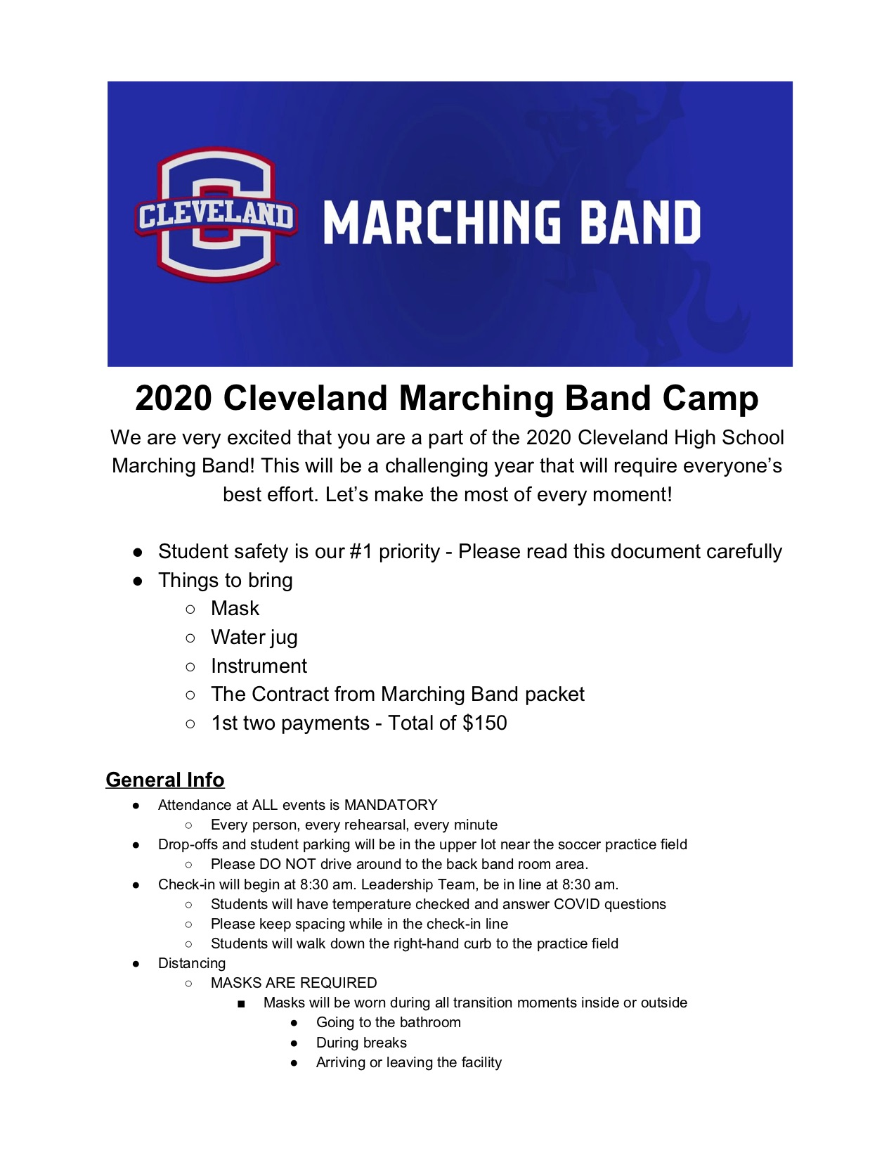 2020 CHS Marching Band Camp