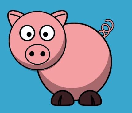 representação gráfica de um porco, sem pelos e de cor rosa