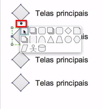 opções de formatos disponíveis, como losango, círculo, quadrado, trapézio e outros
