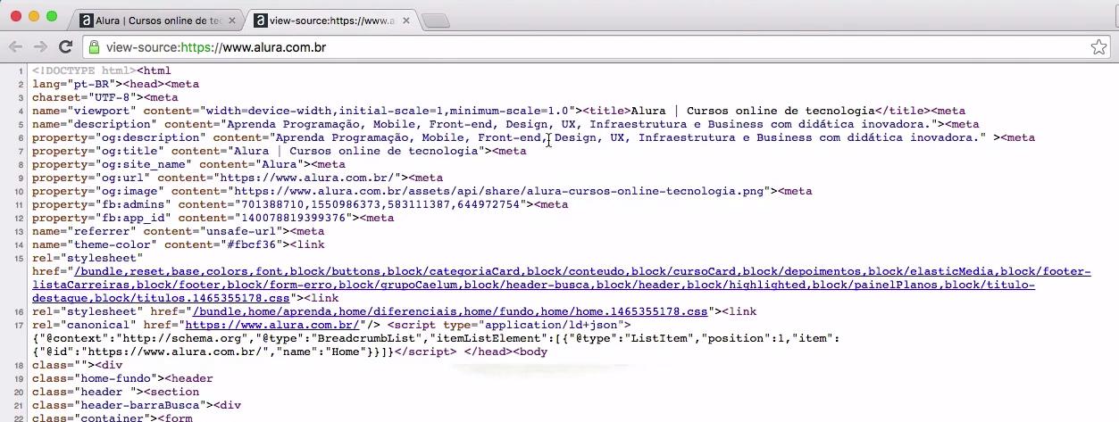 imagem do código ilustrando as instruções que compõem a página