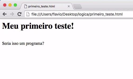 visualização da página com o código HTML onde vemos a frase 'meu primeiro teste!' em negrito e com tamanho de fonte maior que o outro texto exibido