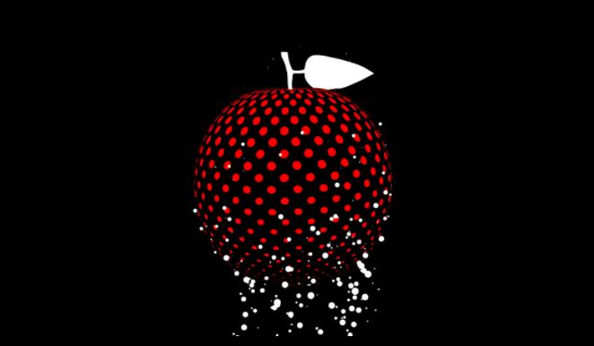 fruta vermelha com bolinhas brancas subindo