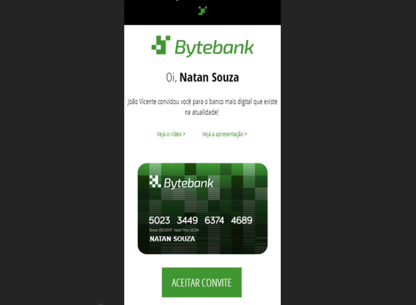 """email marketing responsivo aberto no celular, com logo de empresa (Bytebank) no topo, texto personalizado, desenho de cartão bancário e um botão verde com """"aceitar convite"""""""
