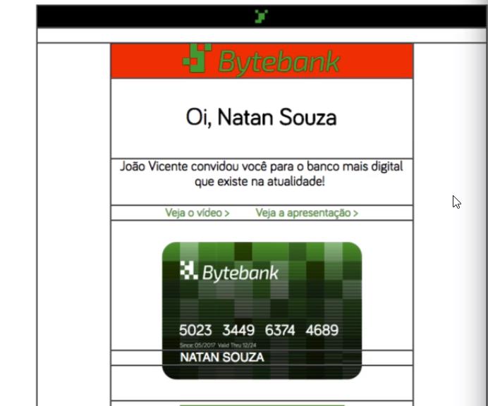 """pedaço superior do e-mail, em vermelho, contendo o logo e o nome """"Bytebank"""""""