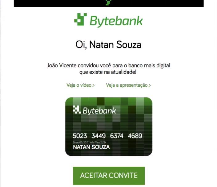 """e-mail com nome e logo da empresa, """"Bytebank"""", no topo, seguido do texto, links, imagem de cartão personalizada e um botão verde com """"aceitar convite"""""""