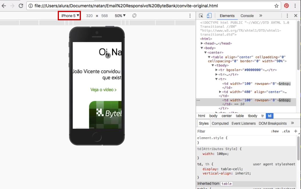 Navegador com Devtools aberto, simulando a visualização do e-mail em um iPhone 5, com código fonte no painel à direita