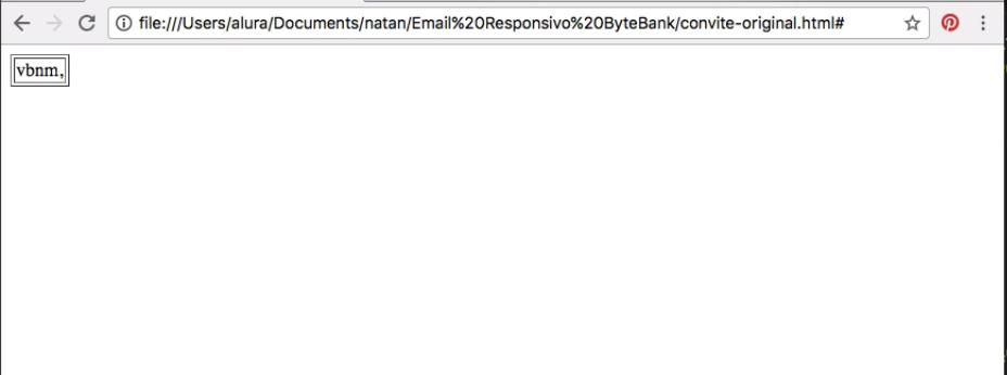 página do navegador em branco e um texto qualquer contido em uma tabela simples