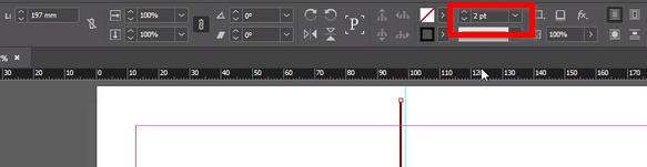Localização do editor de espessura de linha, no menu superior.