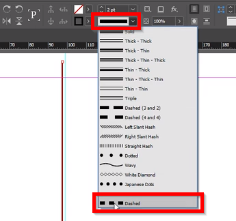 Localização do editor de tracejado de linha, *Dashed*, logo abaixo do editor de espessura, no menu superior.
