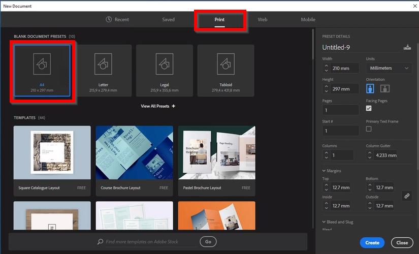 """Botão """"Print"""", terceiro da esquerda para a direita, do menu superior. E dimensão """"A4"""", primeira opção da  esquerda para a direita na seleção de """"Blank Document Presets""""."""