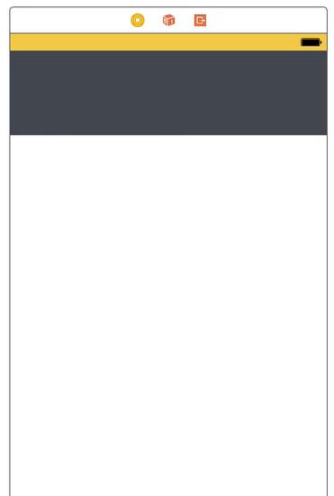View amarela no topo, com ícone de status de bateria no canto direito. Abaixo uma View maior, colorida com cor escura, quase preta.