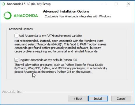"""Janela de diálogo que exibe duas opções a serem assinaladas: """"Add Anaconda to my Path environment variable"""" e """"Registrer Anacoda as my default Python 3.6"""""""