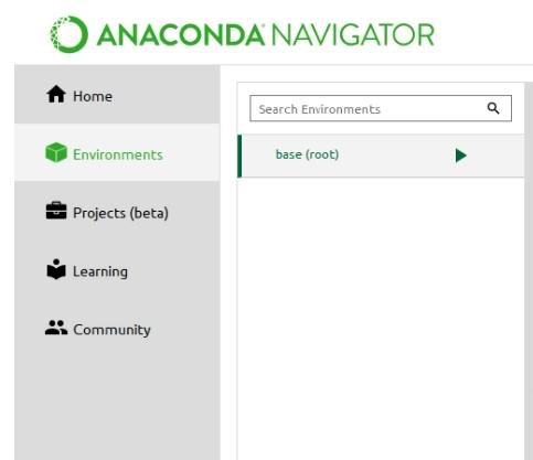 """menu de ferramentas. Contém as opções """"home"""", """"Environments"""", """"Projects(beta)"""", """"Learning"""" e """"Community"""""""