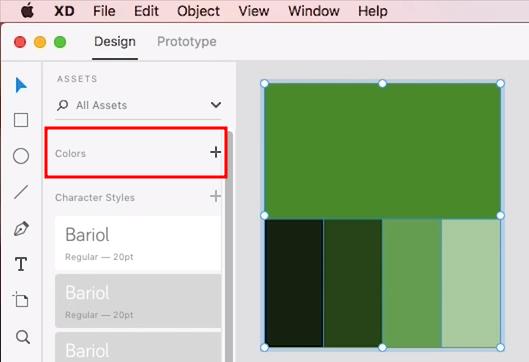 """parte da tela do adobe xd. à direita, paleta de cores com cinco diferentes tons de verde, listados do mais escuro para o mais claro. à esquerda, menus """"assets"""", """"colors"""" e """"character styles"""""""