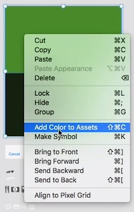 """cursor selecionando a opção """"add color to assets"""""""