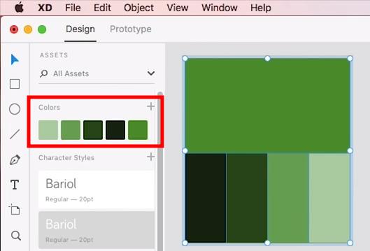 """menu """"colors"""" contendo uma paleta com cinco tons de verde, listados do mais claro para o mais escuro, com exceção do último, que seria o terceiro na gradação"""