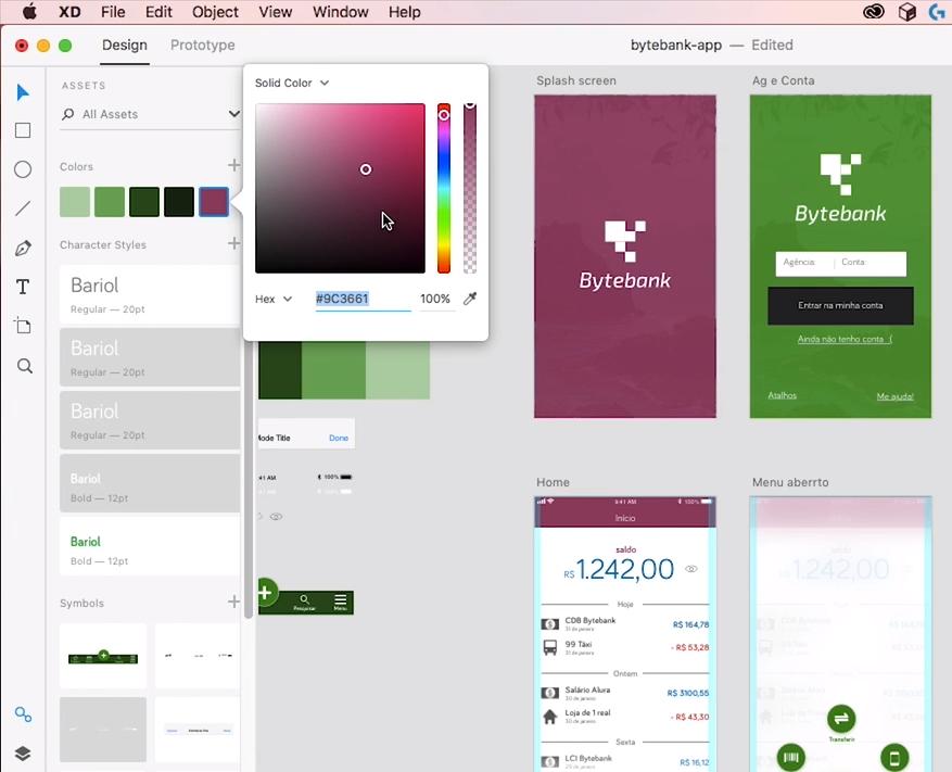 à esquerda, paleta de cores com um dos tons de verde alterado para roxo. à direita, telas da aplicação com tonalidade roxa