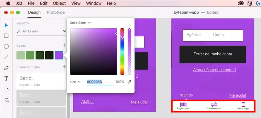 captura do adobe XD mostrando que, nas telas da aplicação, a cor do texto continua verde